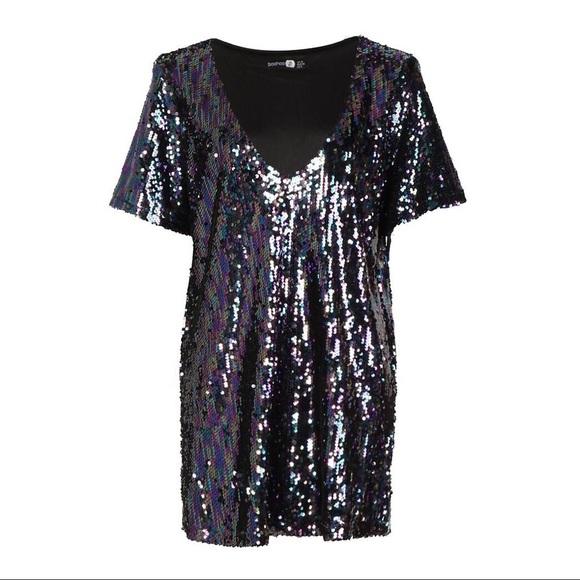 a07e6c6025 BOOHOO Boutique Sequin Plunge Neck Shift Dress